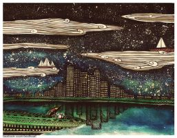 In the night sky ships are sailing by eamanee