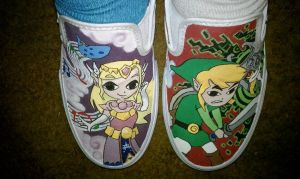 Zelda and Link Custom Vans by lie-in-the-rain