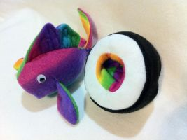 Myth-Fit Reversible Sushi Rainbow Roll Fish by MythfitCreations