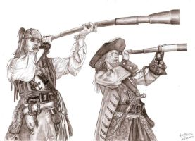 Jack Sparrow and Barbossa by Kah-Fly
