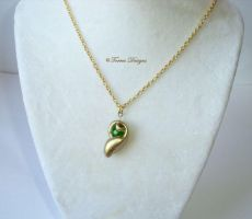 Kokiri Emerald Diamond Cut Pendant Necklace Zelda by TorresDesigns