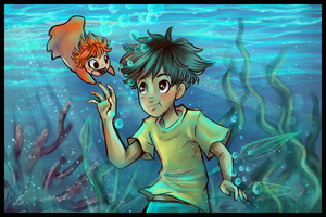Ponyo and Sosuke by sharkie19