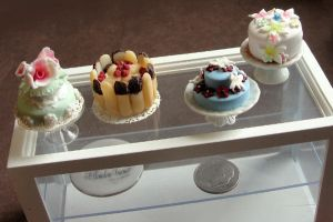 Dollhouse Miniature Cake Display by fairchildart