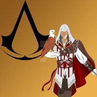 Ezio and eagle by BlackLady18