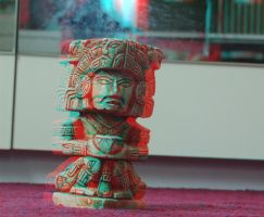 Mayan Statue Anaglyph by CyberEagleWarrior