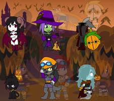 Assorted Chibis - Halloween Pre-Show by Dragon-FangX