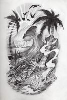 Tropical scene, tattoo by JCGalleryandStudio