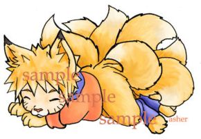 Chibi fox-Naruto for Gaia by askerian