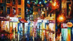 Shopping District by Leonid Afremov by Leonidafremov