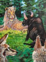 Panchatantra The Lion The Bull and Two Jackals by edelias