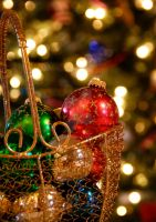 Ornaments in a Golden Basket by MogieG123