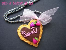 Necklace fimo pendant Biscuit by FiloecoloridiIla