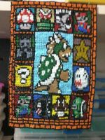Stained Glass Mario made with beads by ludfaiolli
