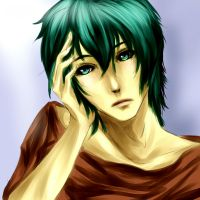 Vocaloid Mikuo has a headache by Athena-King