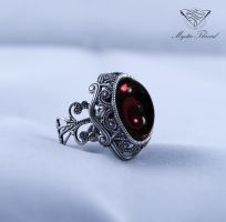 Amethyst gothic victorian adjustable ring by mysticthread