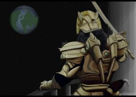 Goldar On Balcony Of Zedd's Palace by GoldRangerKicksass