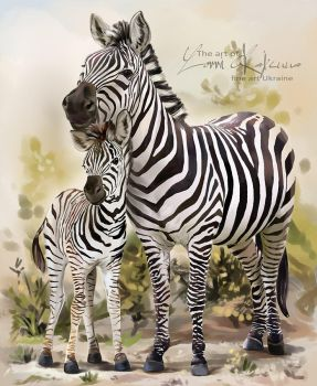 Two zebras by Kajenna