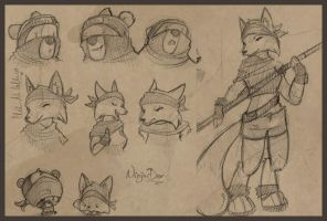 .:Ninja Bear + Fox sketches:. by Busoni