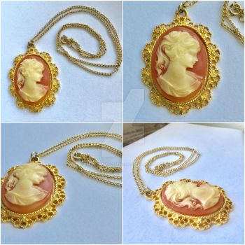 SALE Orange and White Gold Toned Cameo Necklace by RedSilentWolfJewelry
