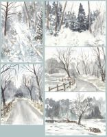 Winter Watercolour Sketches by Pannya
