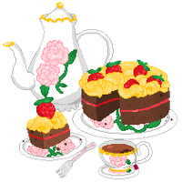 Cake and tea by StarValerian