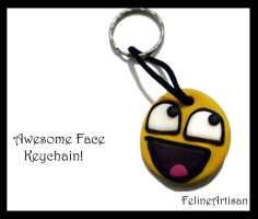 Awesome Face keychain by FelineArtisan