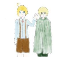 Hetalia: Young Alfred and Arthur(Watercolor) by matisse77
