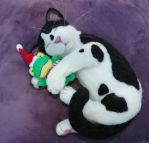 Needle felted Tuxedo Kitty by amber-rose-creations
