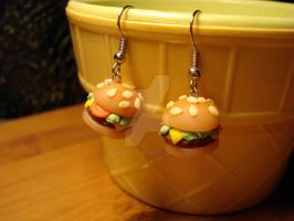 Burguer earrings by sugaroverdose-crafts