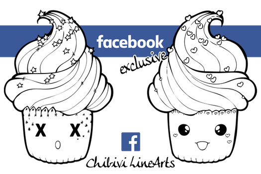 Facebook Cupcake linearts by Chibivi-Linearts