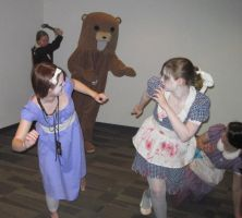 Little Sisters Pursued by PedoBear by Sheikahchica