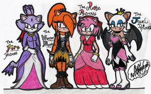Four Princesses by TuxSonic