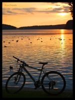 summer bike and the sunset.- by burcyna