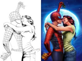 spiderman and mj by sanjun