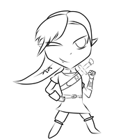 Link chibi Line art by dracosgirl400