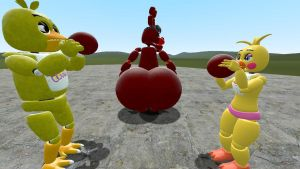 Toy chica and Chica puffing up Lewis' butt by legoben2