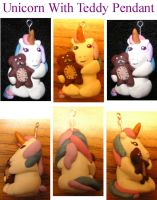 Unicorn with Teddy Pendant by PriestessOfNox