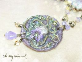 Art Nouveau Fairy Purple Necklace by EnchantedTokenArt