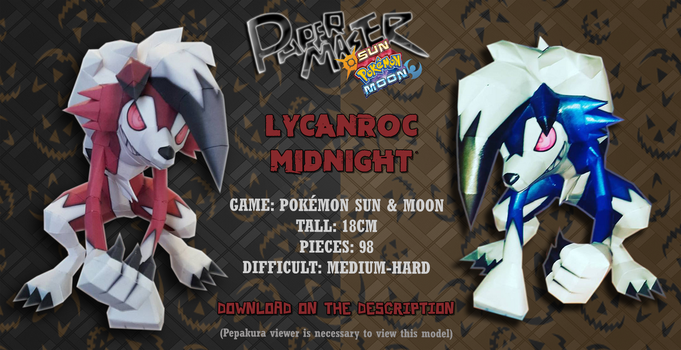 Lycanronc Midnight Form - Papercraft (DOWNLOAD) by RavaMaster