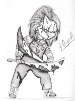 Chucky holding two bloody machetes 2 by Laquyn