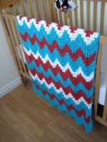 Blue, Red and White Baby Blanket by shaunnaf