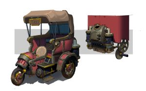 Steam punk taxi by awesomeplex