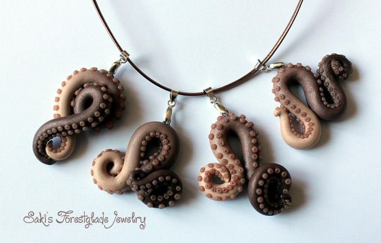 Tentacle necklaces brown glimmer by Sakiyo-chan