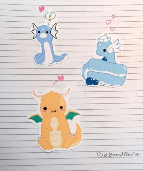 Dratini/Dragonair/Dragonite Stickers and Magnets by pixelboundstudios