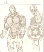 Iron man and Cap by stipher30