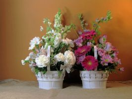 Double Flower Basket Beauty by Artlune