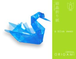 crystal origami series I: blue swan by reptilest