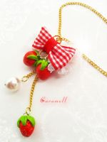 Strawberry Love Necklace by murasaki-ran