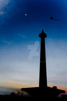 Kite, Moon, Monas by cacalvinon