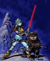 Alien Jedi girl and ewok by Aldagon
